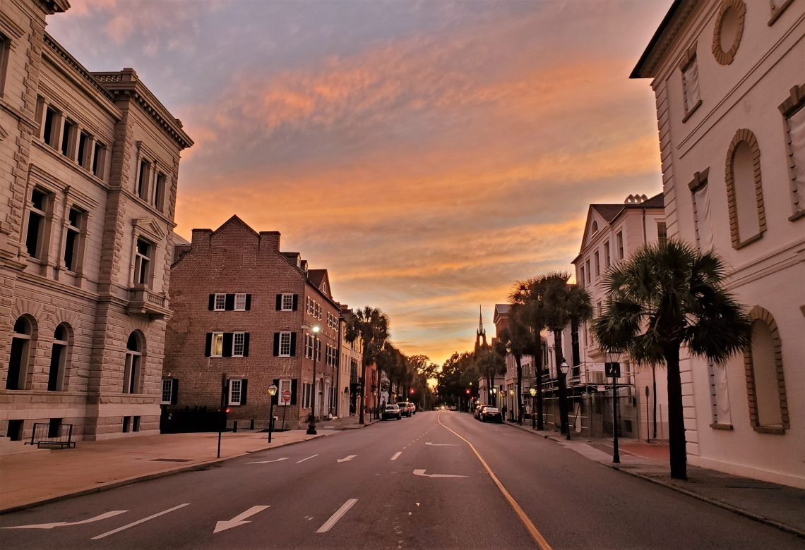 A view down Broad Street from the Four Corners of Law, before Hurricane Dorian arrived.