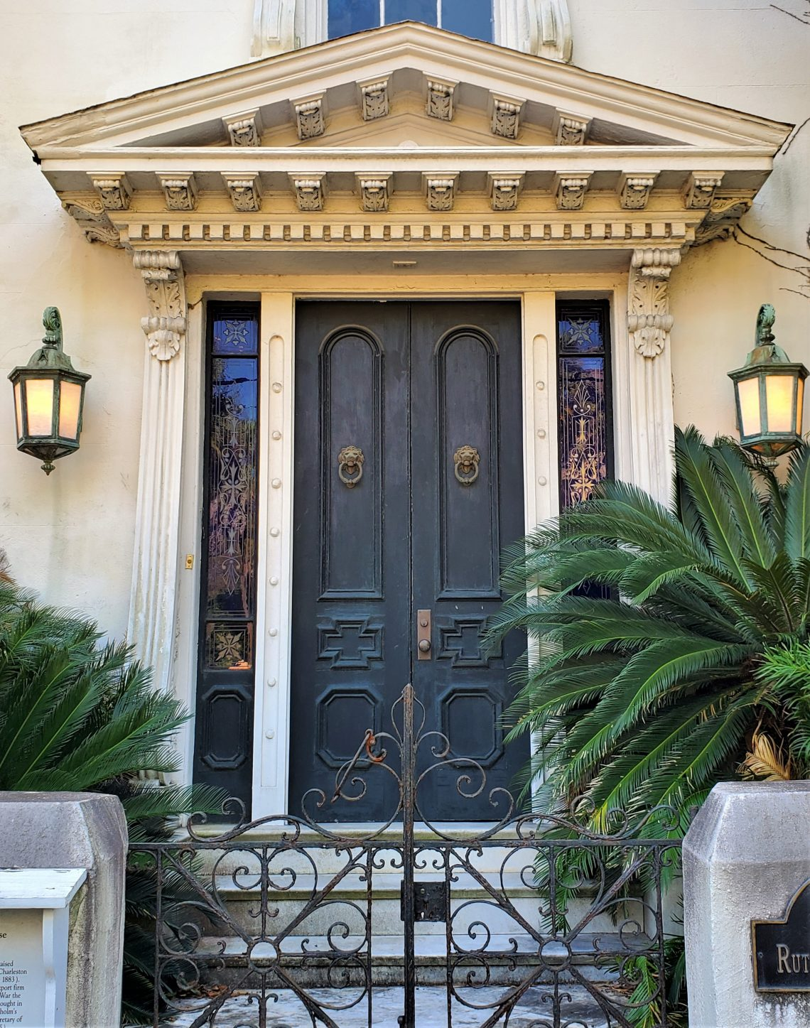 A beautiful door on a significant circa 1853 house on Rutledge Avenue, located directly across the street from the Issac Jenkins Mikell House (which is currently often seen on TV on Southern Charm).