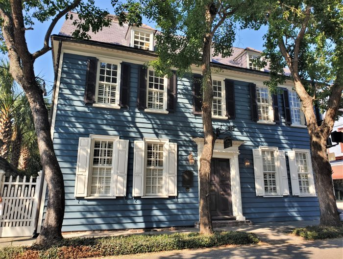This beautiful house (now being used as an office) on Broad Street holds the distinction of being the oldest frame structure in Charleston. It was built before 1715!