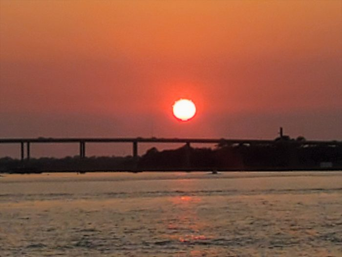 The sun going down behind the James Island Connector along the Ashley River. Coming from JI, the Connector feeds into Calhoun Street. When it was first conceived, it was supposed to feed right into the heart of the historic district on the significant colonial era Broad Street. Citizen outrage caused it to be moved to the more appropriate current location.