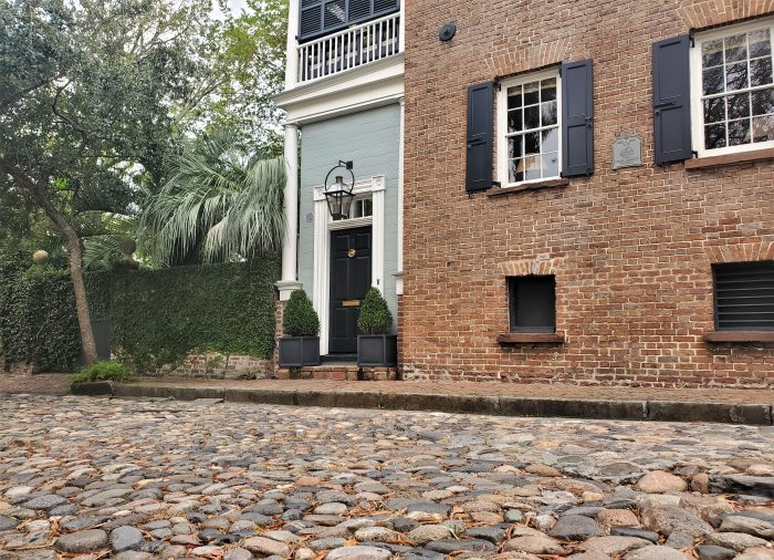 Charleston has eight active cobblestone streets, most of which are near the old wharf area. Just one block long, this is Maiden Lane -- a bit further north and away from the water.