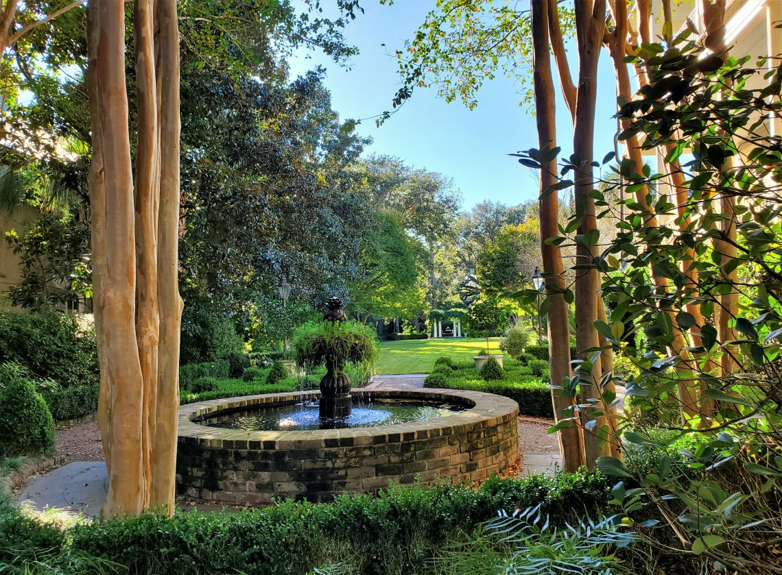 Fall in Charleston, as seen in the amazing garden at 29 Legare (Luh-gree) Street. The fountain is home to a family of turtles.