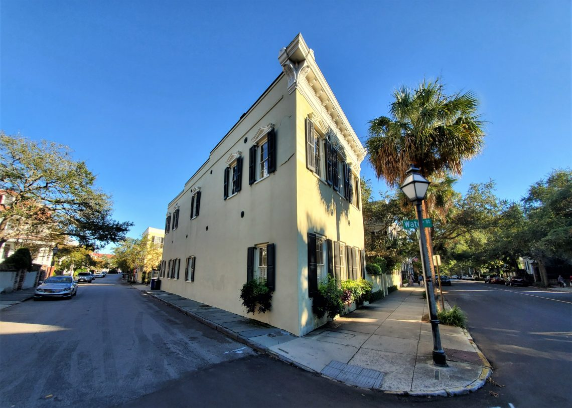 This angular antebellum Charleston house, built in 1860, is located at the corner of Meeting and Water Streets.