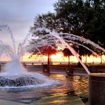 One of the beautiful fountains at Waterfront Park. From there you have a wonderful view of Charleston Harbor -- including Fort Sumter seen in the distance.