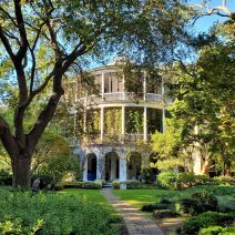 The Parker-Drayton House on Gibbes Street was built in about 1806 and had a water view for about 100 years. In the early 1900's land was reclaimed from the Ashley River and its marshes to form the current Charleston peninsula -- placing two blocks of land and houses between Gibbes Street and the Low Battery. While the house has beautiful gardens and Gibbes is a great street, the water view is no more.