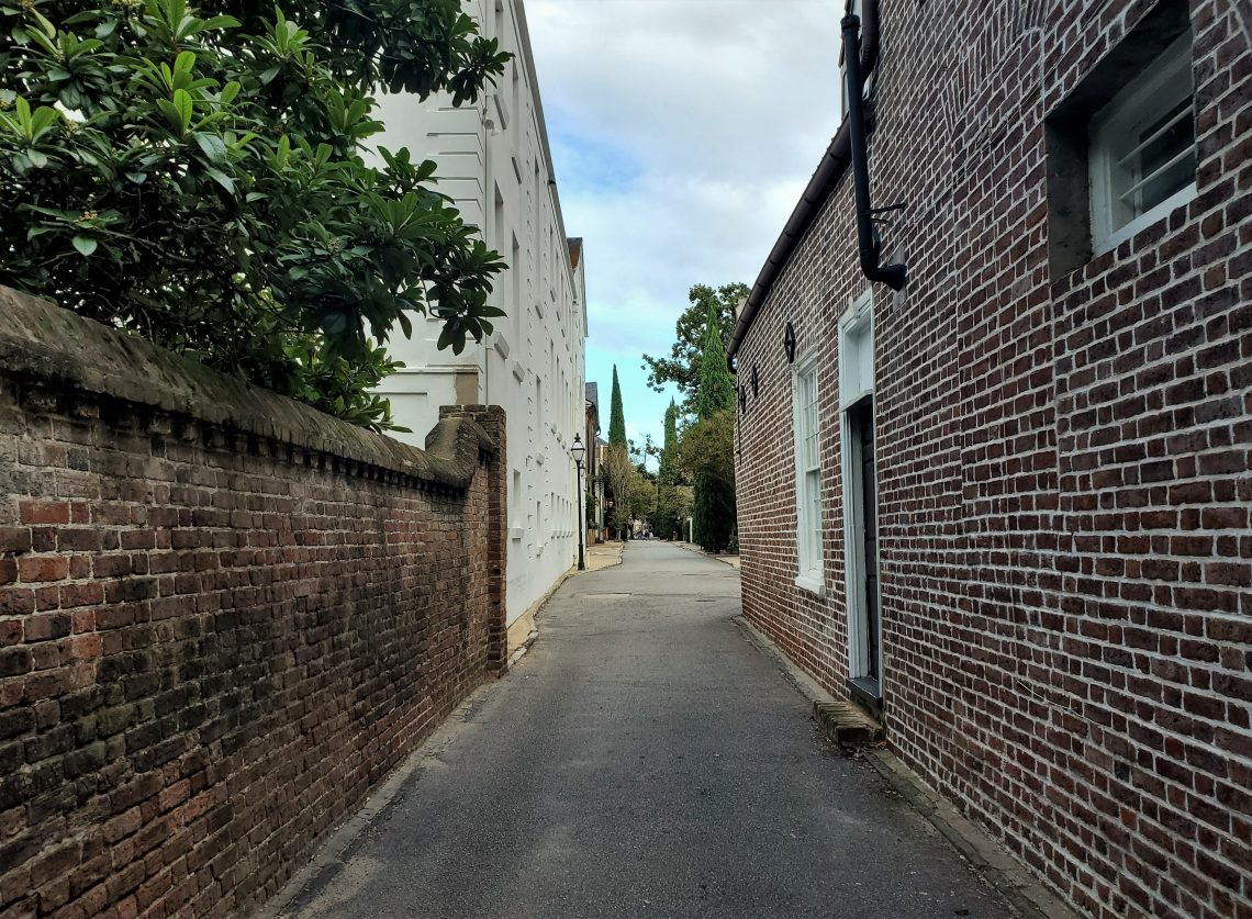 The view from Meeting Street into St. Michael's Alley...