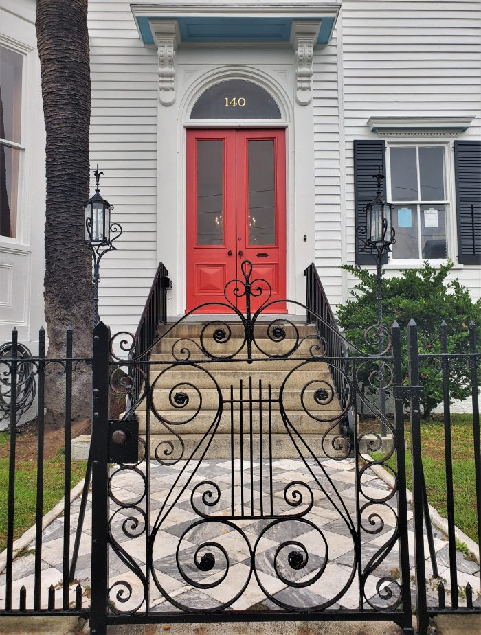 This beautiful gate, walk and door can be found in an impressive house on Broad Street. The house, built c. 1870, replaced an earlier one owned by the same man which burned down in the Great Fire of 1861 (which claimed over 575 other houses and more).