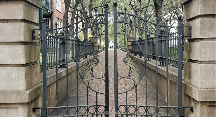 These beautiful heron gates guard one of the entrances to Waterfront Park. You can pass through them off Concord Street.