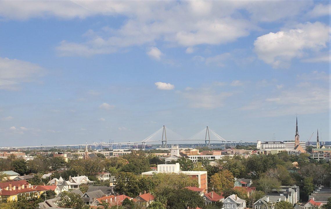 A bird's-eye view across the Charleston peninsula to the Cooper River Bridge (aka the Ravenel Bridge). The third longest cable-stayed bridge in the western hemisphere, the bridge is a pleasure to drive, walk, bike or run across.