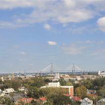 A bird's-eye view across the Charleston peninsula to the Cooper River Bridge (aka the Ravenel Bridge). The third longest cable-stayed bridge in the western hemisphere, the bridge is a pleasure to drive, walk, bike or run across.