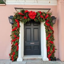This well dressed door on East Bay Street belongs to house that was built about 1740 -- and was home to Anne Boone -- the daughter of an early Puritan refugee to Charleston, who had helped execute King Charles I.