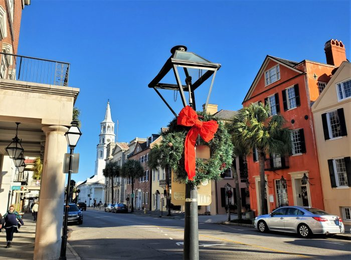 Broad Street is very festive looking during the holidays. This view includes some of the Four Corners of Law, the intersection of Broad and Meeting Streets. That phrase was coined by Robert Ripley, creator ofRipley's Believe it or Not!