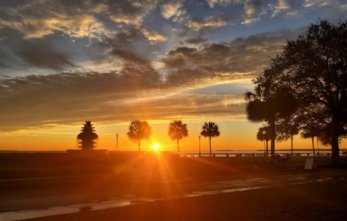A beautiful sunrise seen across Joe Riley Waterfront Park.  Serving over 40 years, Joseph P. Riley Jr. was the longest serving Charleston mayor and the 22nd longest in US history.