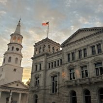 The day's first rays of sun lighting up the innards of the bell tower of St. Michael's and the flag on the Federal building. Inside the Federal building is the wonderful Postal Museum -- a one room museum chronicling the history of the postal service in Charleston.