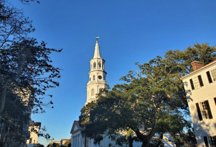 A view up Meeting Street to the steeple of St. Michael's Episcopal Church. St. Michael's is the oldest standing religious building in the city -- built between 1751 and 1761, replacing the St. Phillip's original wooden church built in 1681.