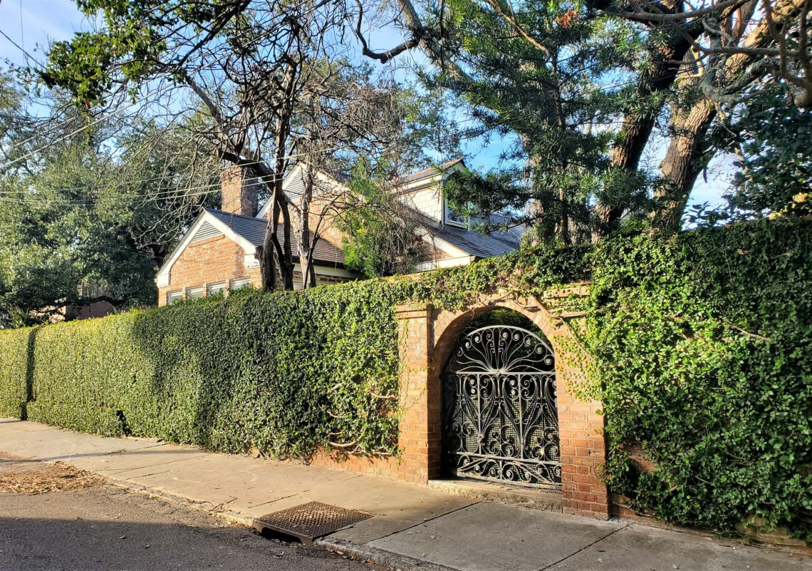 This beautiful sunlit wall and gate can be found on Gibbes Street -- which not named after the benefactor of the wonderful Gibbes Museum of Art.