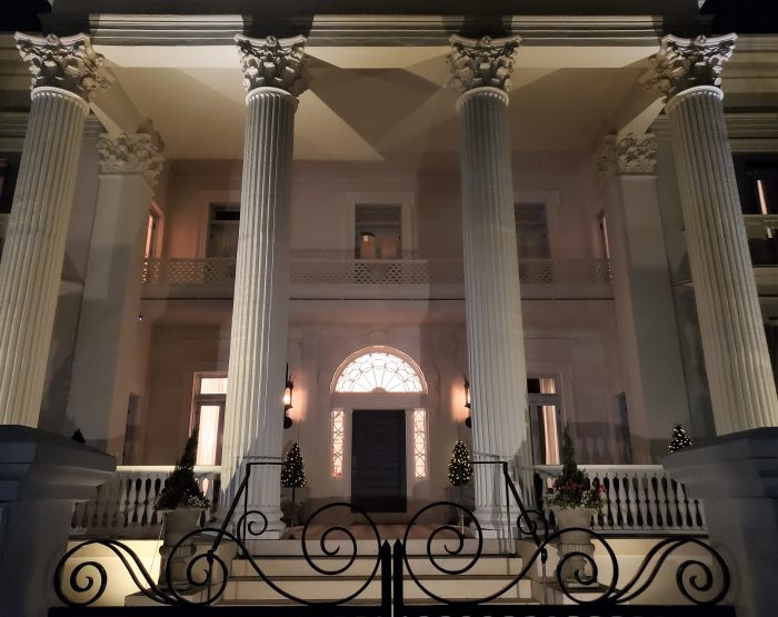 The Villa Margharita, built in 1895 on South Battery, is eye-catching at any time, but really looks great at night. Located across from White Point Garden, if it had been constructed 177 years earlier it would have had a front row seat to the hanging of Stede Bonnet, the Gentleman Pirate.