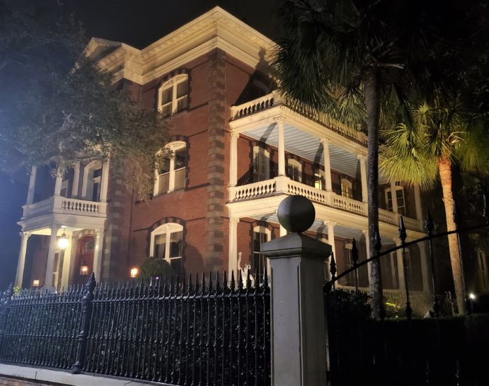 Looking a bit spooky at night, the Calhoun Mansion on Meeting Street is the largest single family house on the Charleston peninsula. At over 24,000 square feet, it has about 35 rooms and 23 fireplaces.