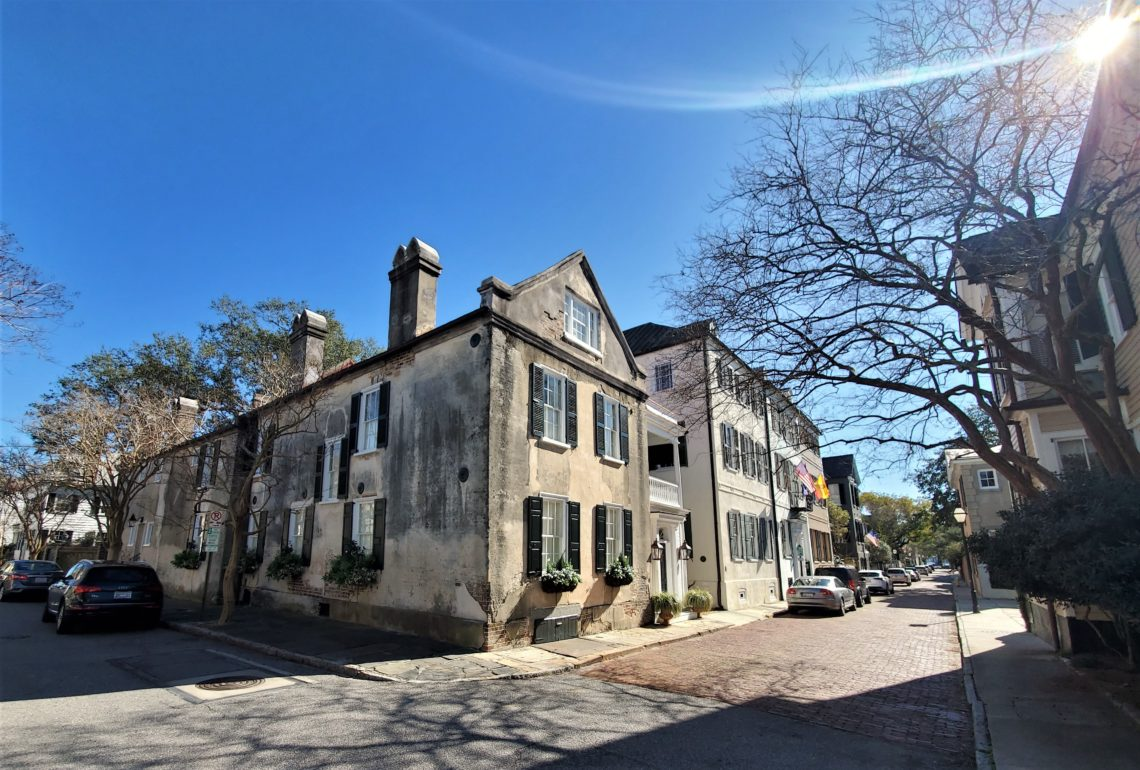 The intersection of Atlantic and Church Streets, with its post-Revolutionary War houses and the bricks of Church Street...
