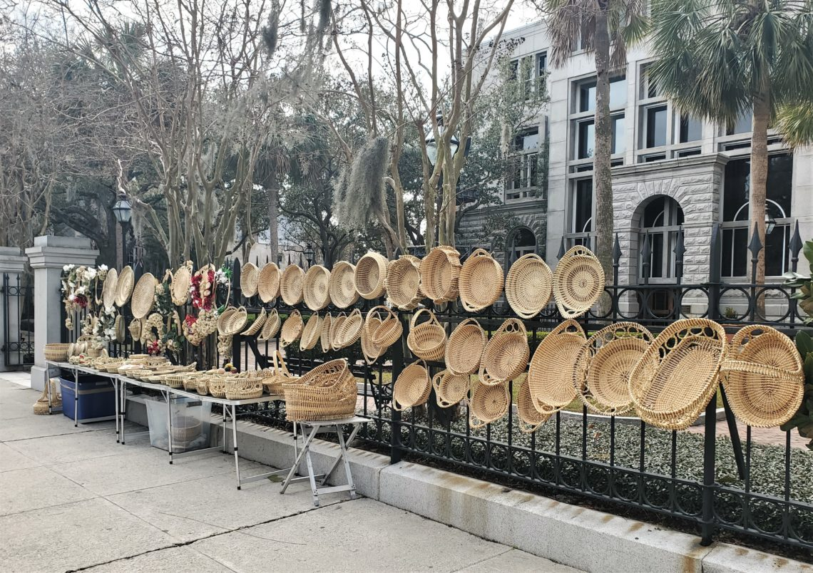 A beautiful array of Sweetgrass baskets for sale on Meeting Street. Tracing their origin back to the 1600's with the arrival of enslaved Africans, they were originally used to separate rice seed from its chaff. Now they are treated as works of art, including some that are on permanent display in the Smithsonian Museum (and others).