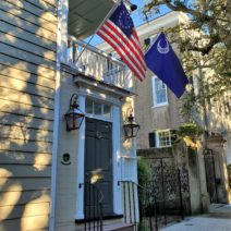 This beautiful house on Meeting Street, c.1740, is known for the original woodwork in its interior. The mantle is believed to have been created by Thomas Elfe, a famous Charleston cabinet maker.
