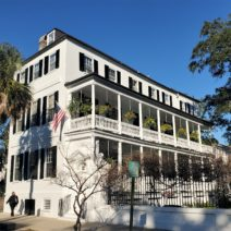 The Timothy Ford House on Meeting Street, built 1800-06, is a wonderful example of a very large Charleston single house. In 1824, the Fords entertained the Marquis de Lafayette, the Revolutionary War hero, there on his visit back to the US.
