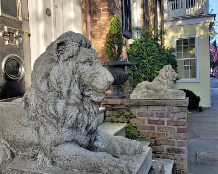 These regal lions are on guard outside of a house (c. 1850) on Tradd Street, that was built by William C. Bee -- best known as the owner of the premier blockade running business during the Civil War.