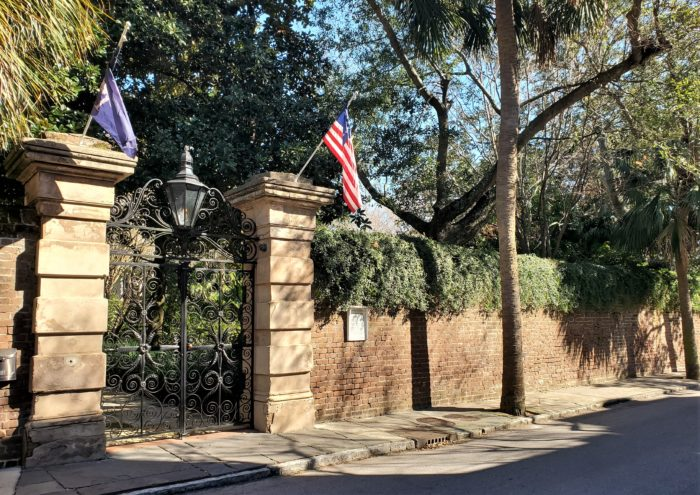 Built before 1810, the house behind this beautiful wall on Legare Street is known as the Sword Gate House -- named after its iconic gate made by the master ironworker Christopher Werner.