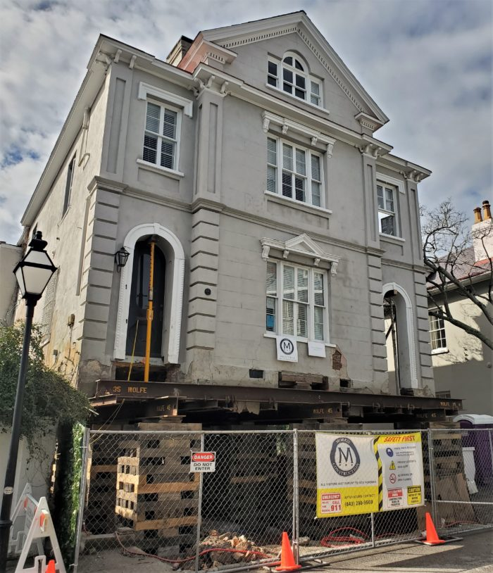 This house on Water Street has been sitting in the same spot since 1857. Now, because of flooding and rising sea levels, it and other houses around Charleston are being raised to make them safer from water. This is one of the most impressive I've seen so far.