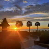 A beautiful sunrise as seen from Riley Waterfront Park. Prior to opening in May 1990, the park sustained about $1,000,000 worth of damage when Hurricane Hugo struck Charleston.