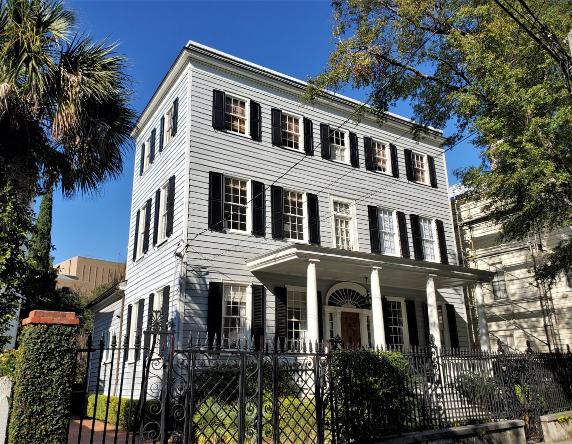 This handsome house on Laurens Street was built in 1807-08. In the antebellum period a number of additions were made, including adding the incredible fence/gates and the entire third floor of the house.