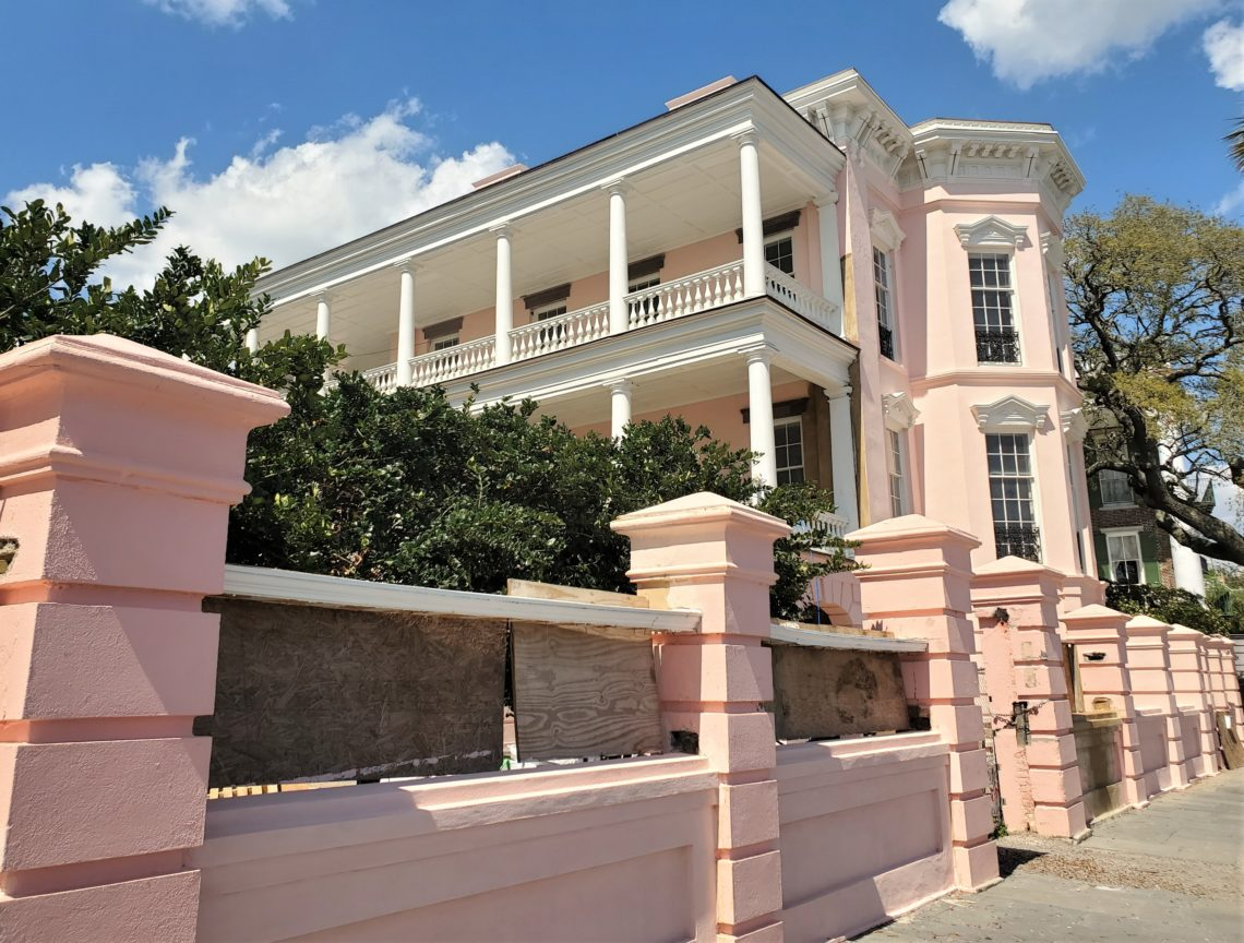 This beautiful pink house on East Battery (c. 1848) is reaching the end of a long restoration, converting it from a B&B back to a single family house. Once owned by a dentist, the popular story about the pink color is that it represents healthy gums. It is not the original color of the house, but has become iconic and the new owners decided to keep it that way.