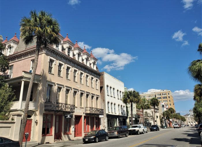Broad Street on a beautiful Charleston day. The incredible building on the left is the Confederate Home and College, which was built as a private home in 1800, became a hotel and then in 1867 became the Home for Confederate Widows and Orphans. Today it is still used as a home, but is also an events venue.