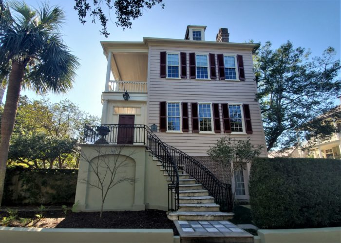 This handsome house on Anson Street was built c. 1800. The beautiful curving staircase was added 44 years later -- the same time a third story was added to the house. In a renovation in 1969, the third story was removed and the house returned to its original profile.