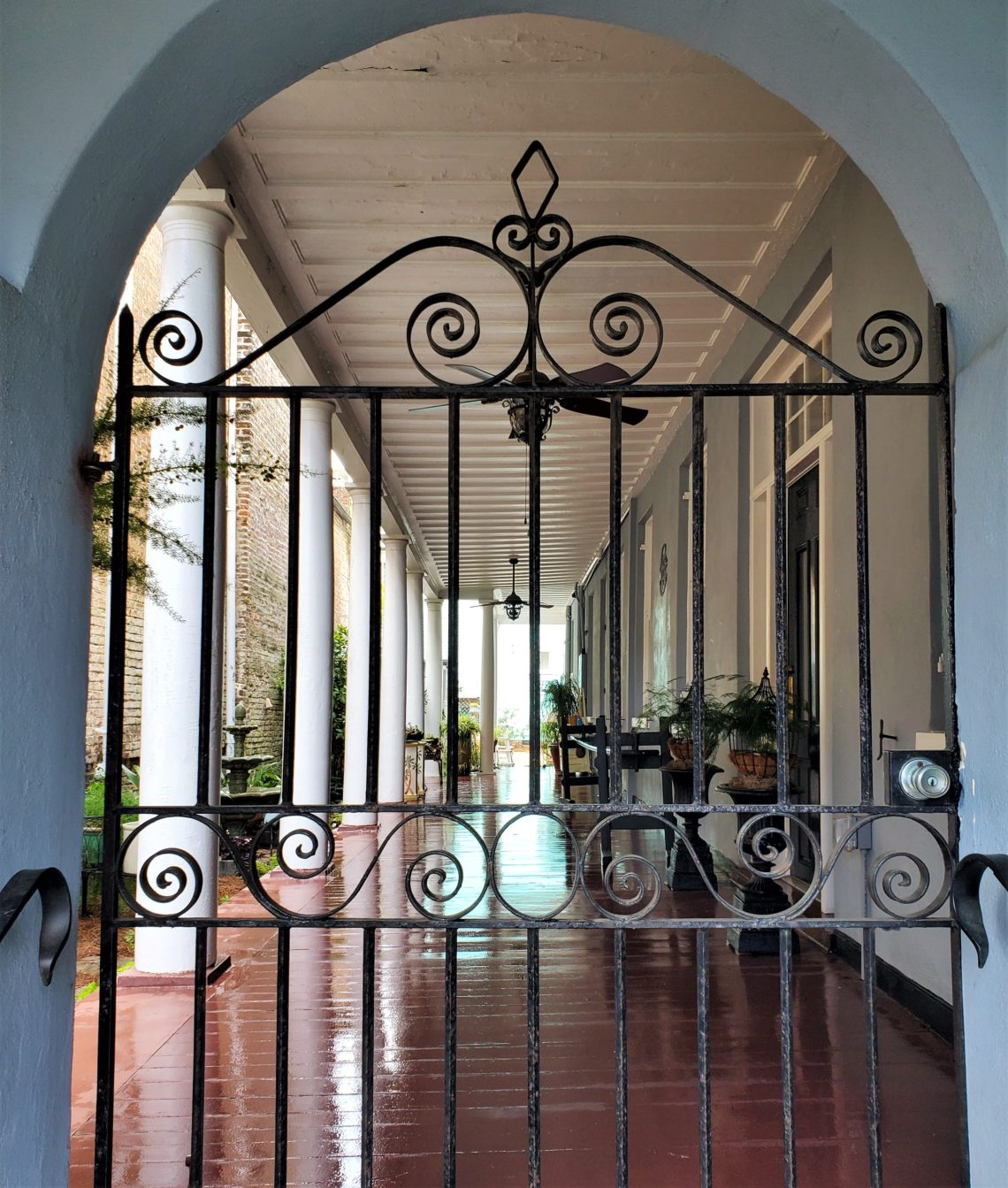 A beautiful gate and piazza on a Rutledge Avenue house built in 1852. The piazza was actually a later addition.