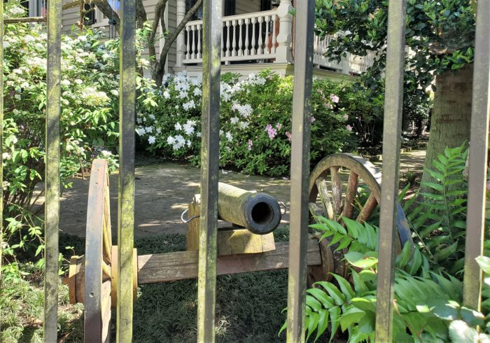 This cannon was discovered under a house on Tradd Street when the house was being renovated. It's now on display in the front yard for all to see.