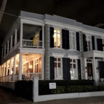 """Located across from Colonial Lake on Beaufain Street, this c. 1840 house built for one family once served as a home for """"Presbyterian and Huguenot woman of gentle birth and small means."""" In 1971 it was converted back to a single family house."""