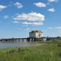 This unusual building is the only house in Charleston on topof the harbor. A former degaussing station once owned by the Navy, it was converted into a private home in 2010. Almost 6000 square feet with a 240 foot private dock, it has pretty nice views too!