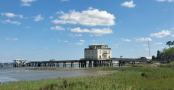 This unusual building is the only house in Charleston on top of the harbor. A former degaussing station once owned by the Navy, it was converted into a private home in 2010. Almost 6000 square feet with a 240 foot private dock, it has pretty nice views too!