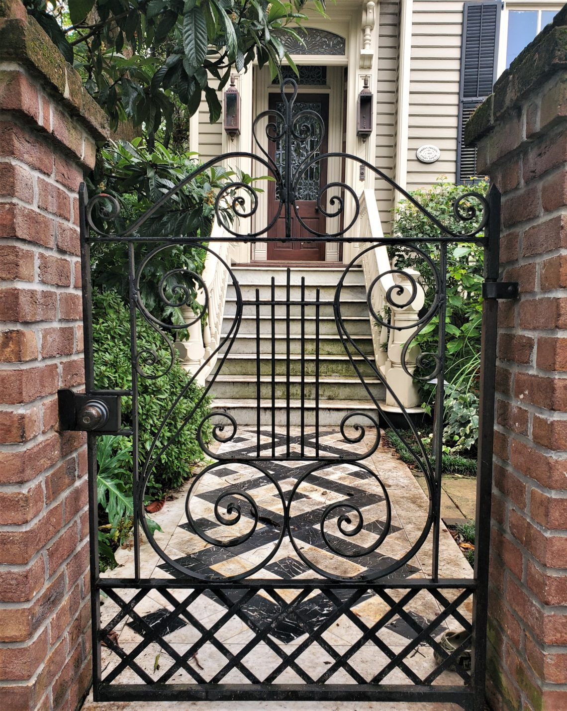 A beautiful gate, walkway and entrance on Tradd Street -- one of the few streets that full transverses the peninsula.