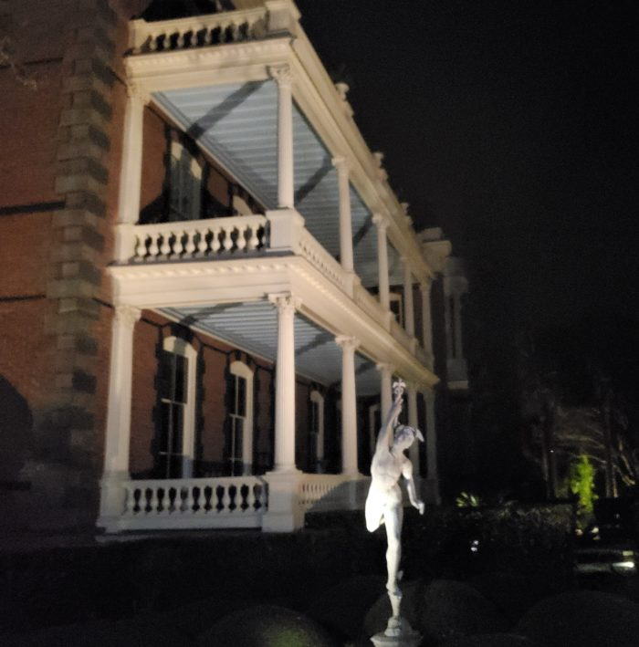 The Calhoun Mansion at night is quite a sight to see!